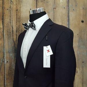 Calvin Klein Slim Sport Coat Mens 40R Wool Black
